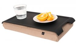 Laptray mini antislip, svart/sand